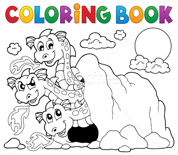 Coloring book dragon theme image 5 Stock photo © clairev
