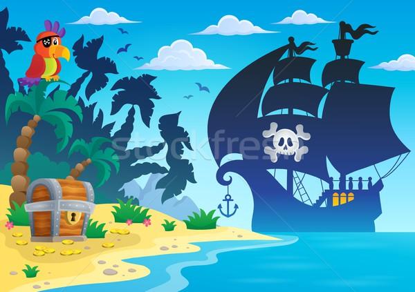 Foto stock: Pirata · silhueta · mar · areia · crânio · navio