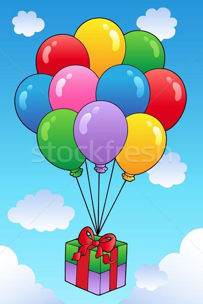 Lebeg ajándék rajz léggömbök születésnap doboz Stock fotó © clairev