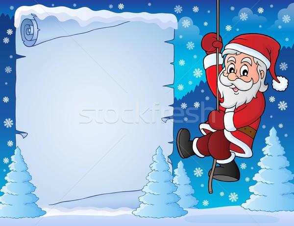 Wspinaczki Święty mikołaj pergamin papieru drzewo szczęśliwy Zdjęcia stock © clairev