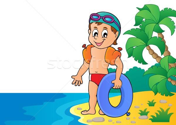 Mały pływak obraz wody sportu morza Zdjęcia stock © clairev