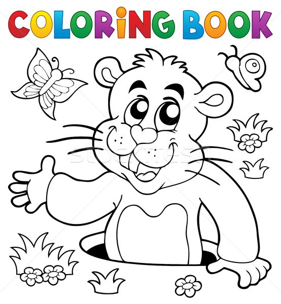 Coloring book groundhog theme image 2 Stock photo © clairev