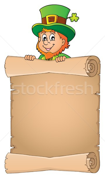Leprechaun holding parchment image 3 Stock photo © clairev
