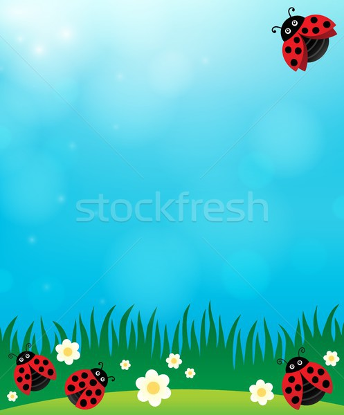 Primavera mariquitas flor naturaleza fondo alas Foto stock © clairev