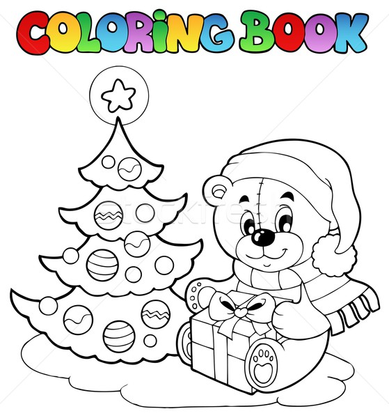 Coloring book Christmas teddy bear Stock photo © clairev