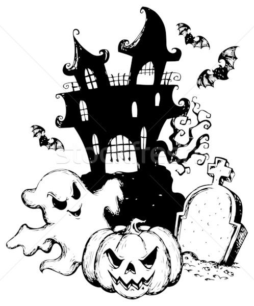 Halloween theme drawing 1 Stock photo © clairev