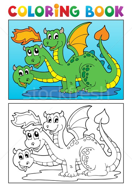 Coloring book dragon theme image 4 Stock photo © clairev