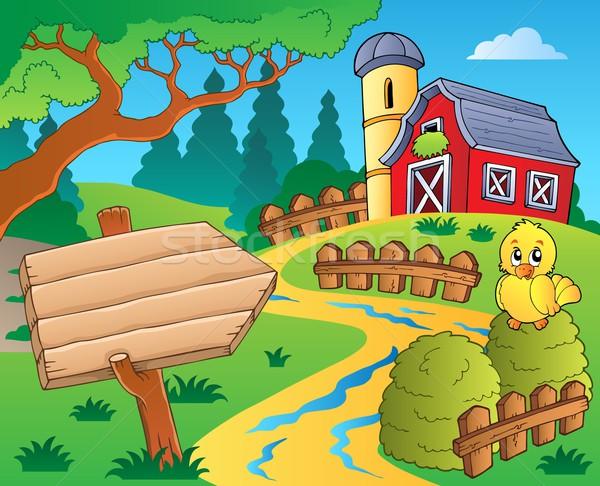 çiftlik kırmızı ahır Bina imzalamak kuş Stok fotoğraf © clairev