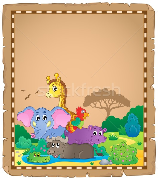 Parchment with African animals 1 Stock photo © clairev