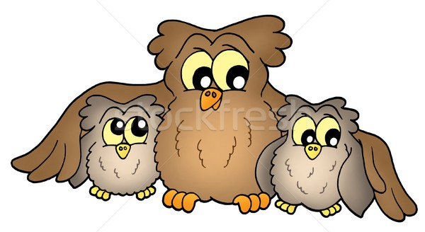 Stok fotoğraf: Sevimli · baykuşlar · üç · kahverengi · renk · örnek
