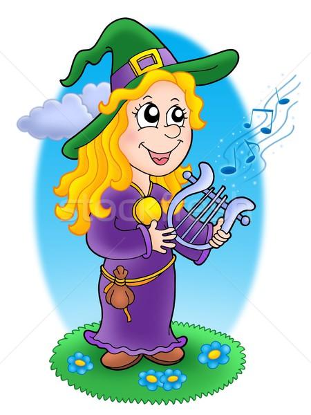 Aranyos boszorkány szín illusztráció égbolt zene Stock fotó © clairev
