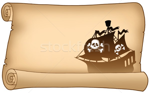 Parchment with pirate ship silhouette Stock photo © clairev