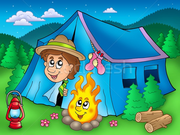 Cartoon scout boy in tent Stock photo © clairev