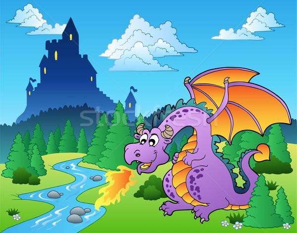 Foto stock: Conto · de · fadas · imagem · dragão · água · madeira · floresta