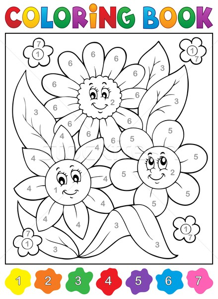 Coloring book with flower theme 9 Stock photo © clairev