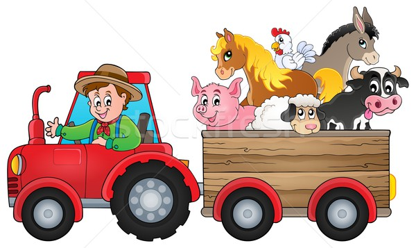 Tracteur image travaux poulet ferme porc Photo stock © clairev