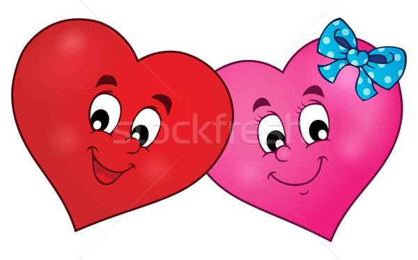 два стилизованный сердцах улыбка лице аннотация Сток-фото © clairev