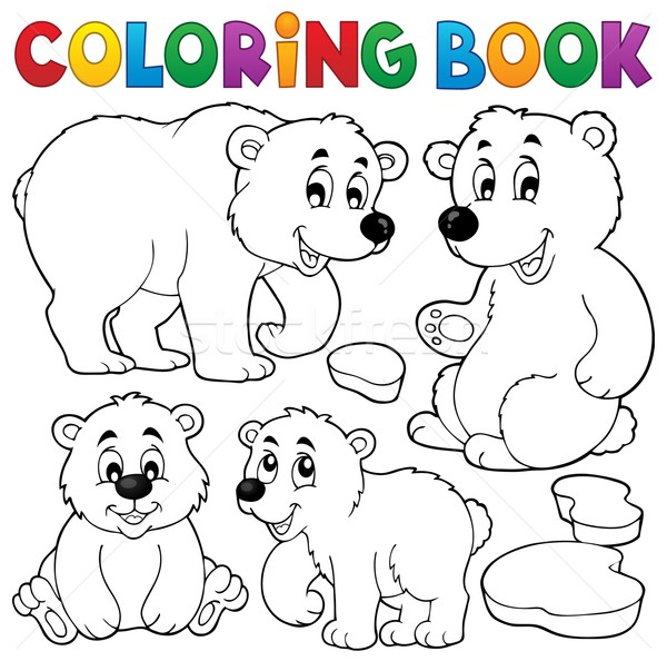 Coloring book with polar bears Stock photo © clairev