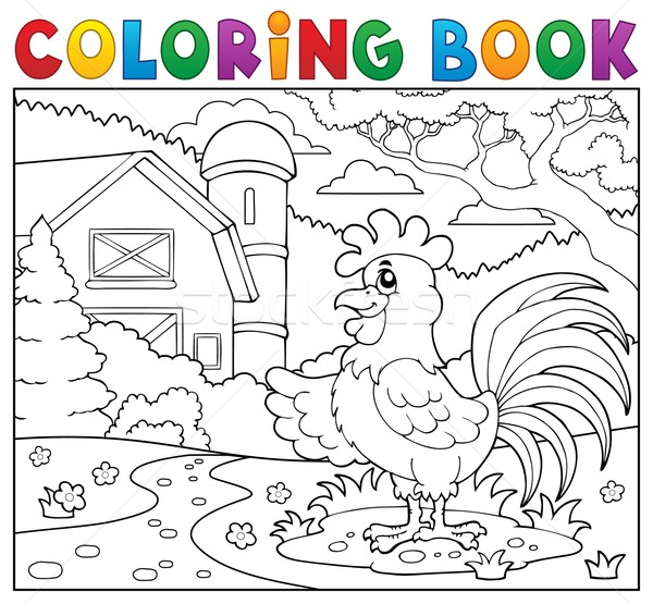 Coloring book rooster near farm Stock photo © clairev