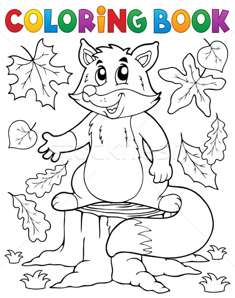 Stock Photo Vector Illustration Coloring Book Cute Fox Theme 1