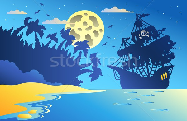 Night seascape with pirate ship 2 Stock photo © clairev
