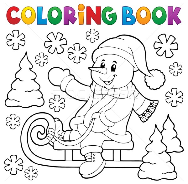 Coloring book snowman on sledge theme 1 Stock photo © clairev