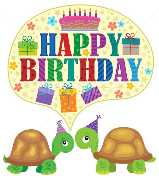 Boldog születésnapot teknősök születésnap torta felirat gyertya Stock fotó © clairev