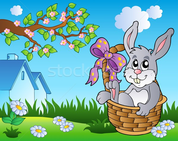 Stock photo: Spring meadow with bunny in basket