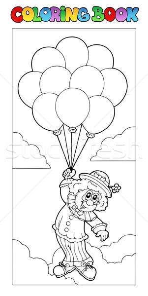 Coloring Book With Flying Clown Vector Illustration C Klara