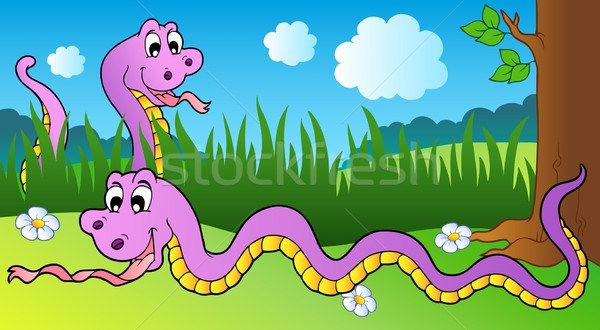 Dois desenho animado snakes prado sorrir olhos Foto stock © clairev