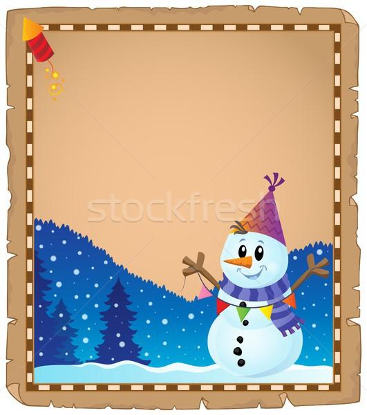 Perkament partij sneeuwpop papier kunst winter Stockfoto © clairev