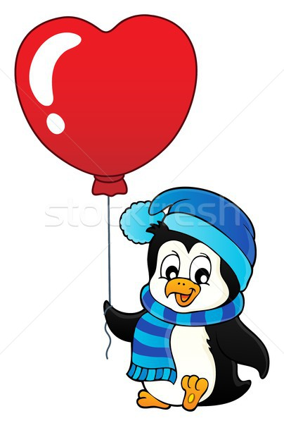 Cute Valentine penguin theme image 1 Stock photo © clairev