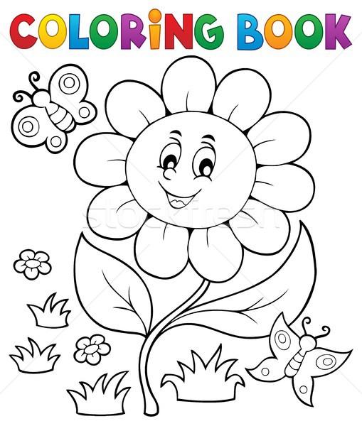 Boyama Kitabı çiçek Konu Kitap Doğa Sanat Vektör