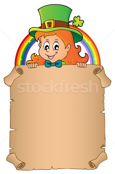 Leprechaun girl holding parchment 3 Stock photo © clairev