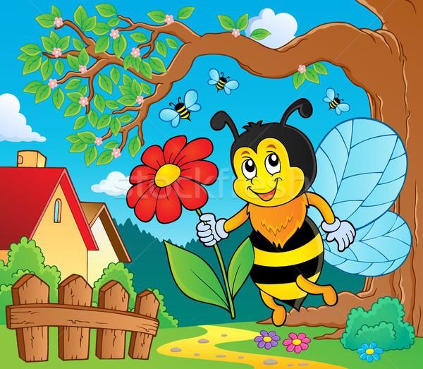 Gelukkig bee bloem natuur kunst Stockfoto © clairev