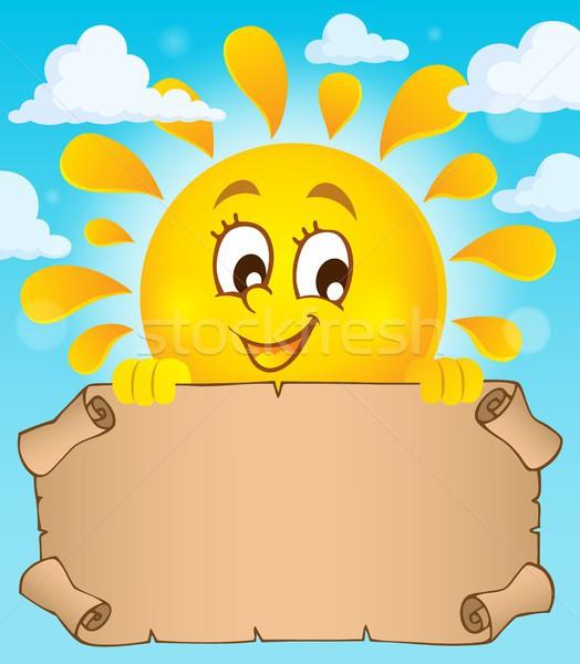 Happy sun holding parchment theme 1 Stock photo © clairev