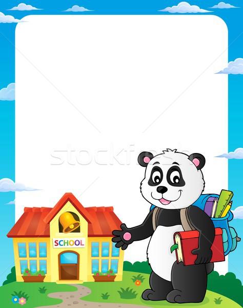 Okul panda çerçeve kitap sanat gülen Stok fotoğraf © clairev
