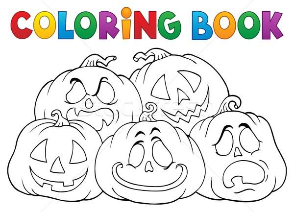 Kleurboek halloween pompoenen boek gezicht Stockfoto © clairev