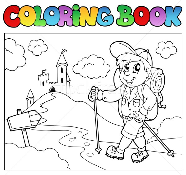 Coloring book with hiker boy Stock photo © clairev