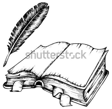 Stockfoto: Oud · boek · afbeelding · school · ontwerp · kunst · onderwijs