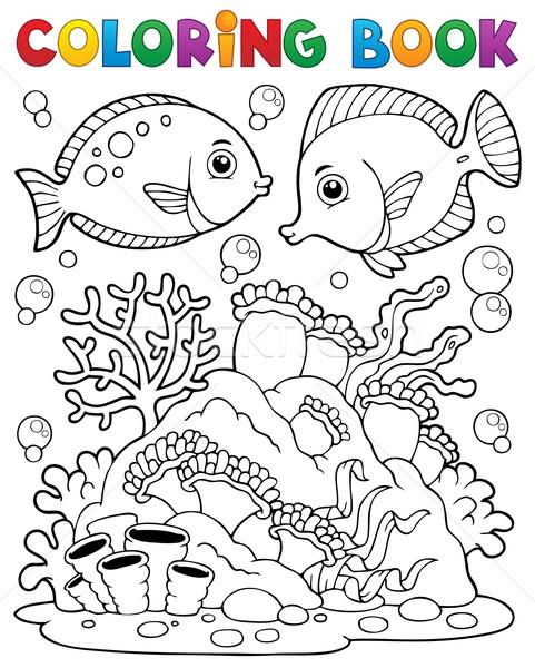 Kifestőkönyv korallzátony könyv hal természet tenger Stock fotó © clairev