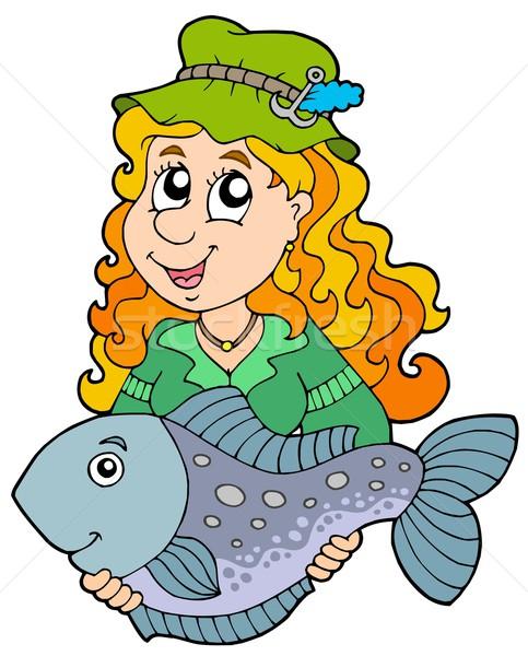 Fisherwoman holding big fish Stock photo © clairev