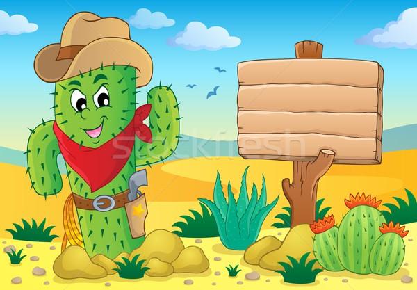 Kaktusz kép természet terv sivatag művészet Stock fotó © clairev