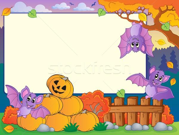 Foto stock: Otono · marco · halloween · sonrisa · arte · hojas