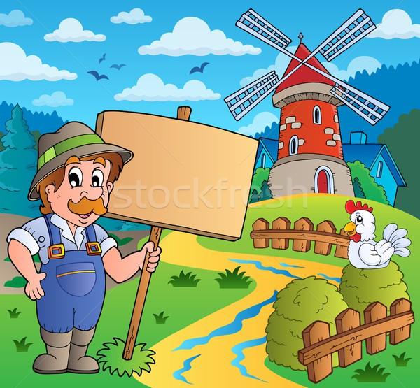 農家 にログイン 風車 建物 自然 風 ストックフォト © clairev
