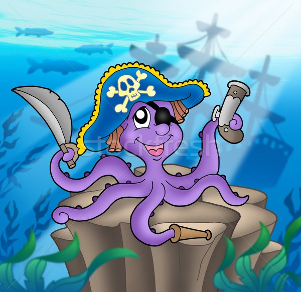 Pirate octopus with shipwreck Stock photo © clairev