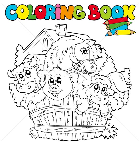 Coloring book with cute animals 2 Stock photo © clairev