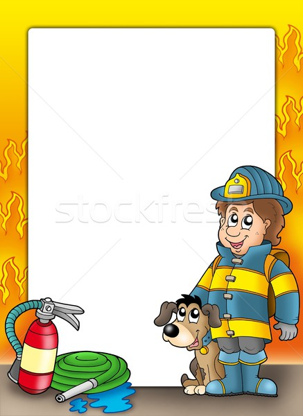 Frame with firefighter and dog Stock photo © clairev