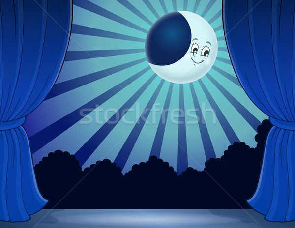 Etapa lua luar céu feliz arte Foto stock © clairev