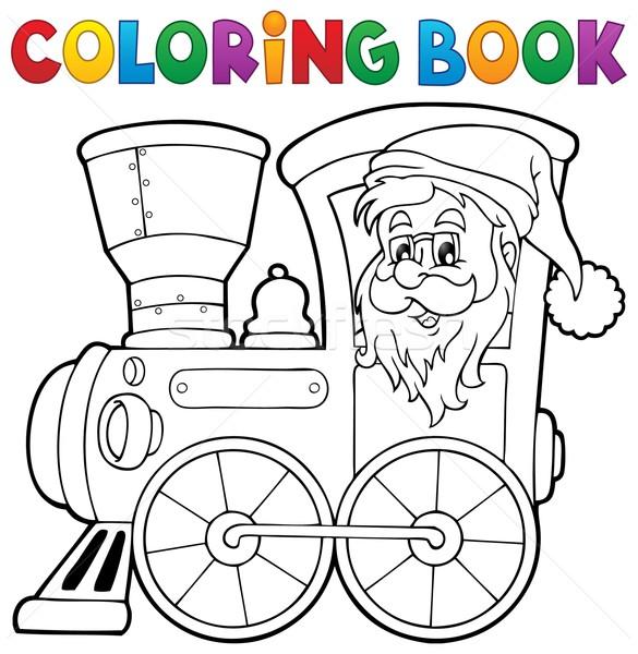 Kleurboek christmas locomotief boek gezicht verf Stockfoto © clairev